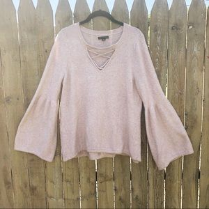 American Eagle Blush Bell Sleeve Sweater Size L